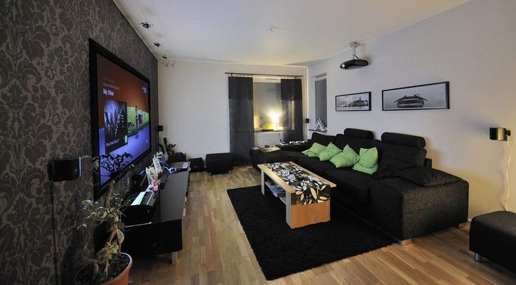 Modern Home Theatre Living Room Set with Grey Wallpaper Ideas