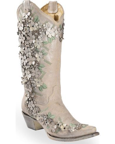2651cb58aaa Corral Women s White Floral Overlay Embroidered Stud and Crystals Cowgirl  Boots - Snip Toe