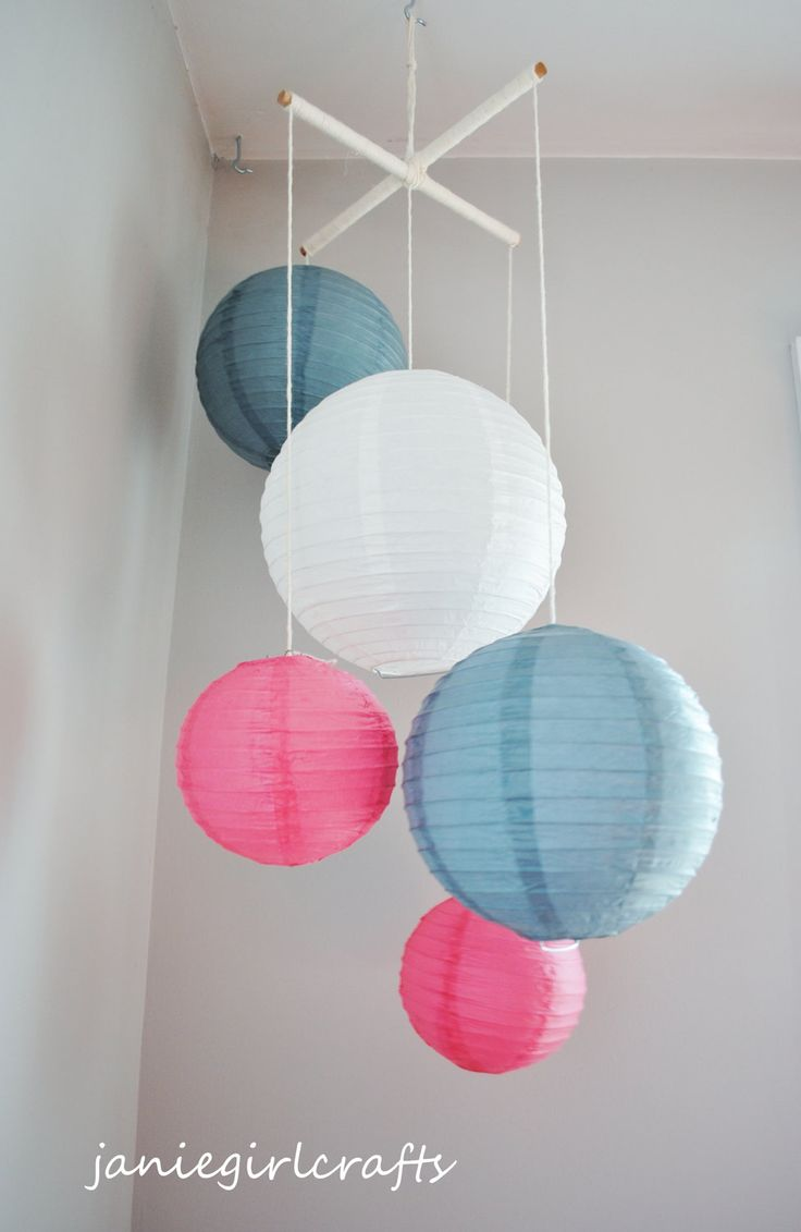 Gray and Hot Pink Nursery (idea by janiegirlcrafts on Etsy).  Easily create your own with over 50 paper lantern colors from http://www.partylights.com/Lanterns/Lanterns-by-Color