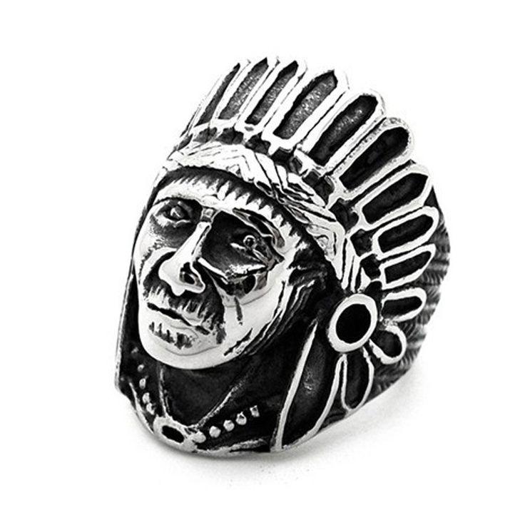 Vintage Cincin Jari Klasik Pria Perhiasan Antique Warna Silver Fashion pria Biker Cincin Indian Desain Indiana Chunky Cincin 2016