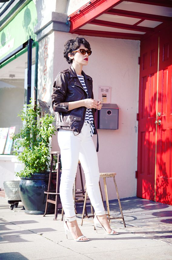 Biker and breton with white skinnies: Karla Their, White Skinny, Fashion, Style, Karla Closet, White Pants, Leather Jackets, Sterling Silver Rings, White Jeans