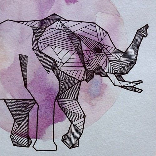 Geometric elephant #purple