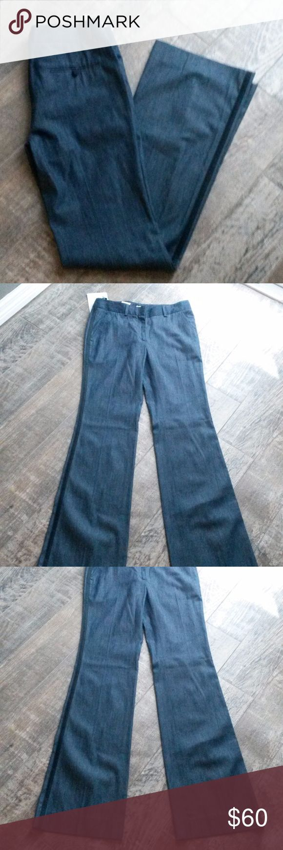 "Battistoni Italian Navy Blue Tuxedo Stripe Pants Italian made navy blue pants with a black satin tuxedo stripe on the outside and a wide leg. 4 pockets with a clasp and zipper closure. Italian size 42 = size 6. 100% cotton  approx. measurements: Inseam: 34"" Rise: 9"" Back: 12"" Flat waist:15"" Leg opening: 10"" Battistoni Pants Wide Leg"