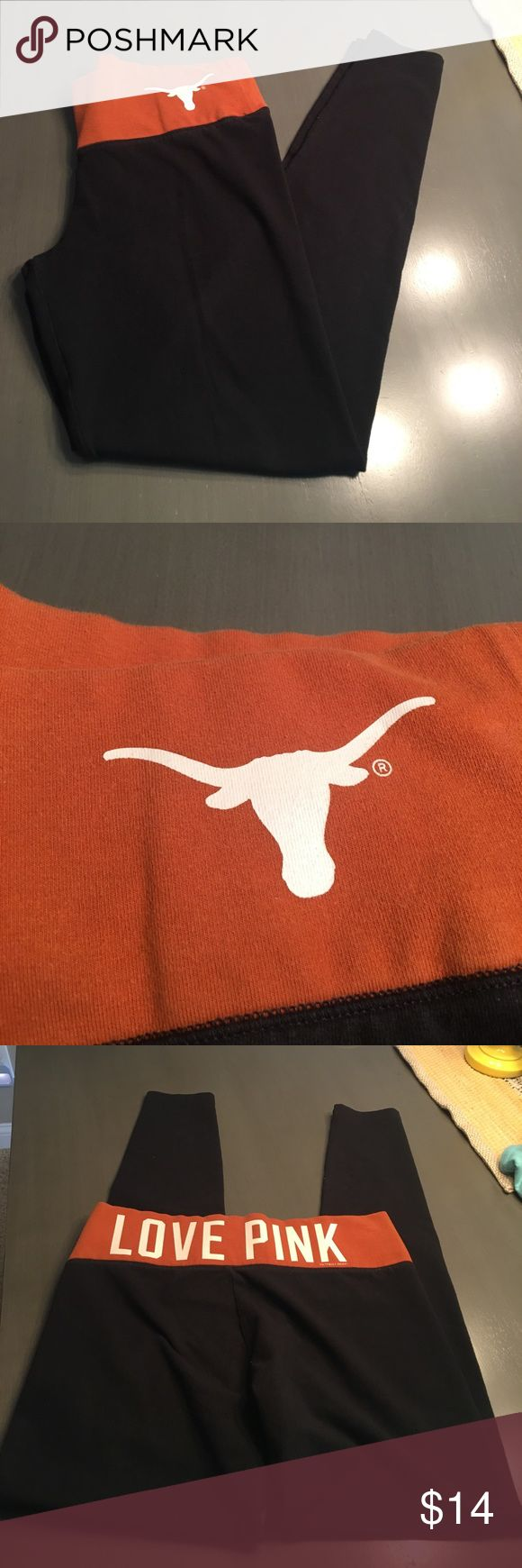 Black and orange brown Texas longhorns pink brand Black and orange Texas long horn leggings pink brand size small. Smoke free home no holes rips or stains. PINK Victoria's Secret Pants Leggings