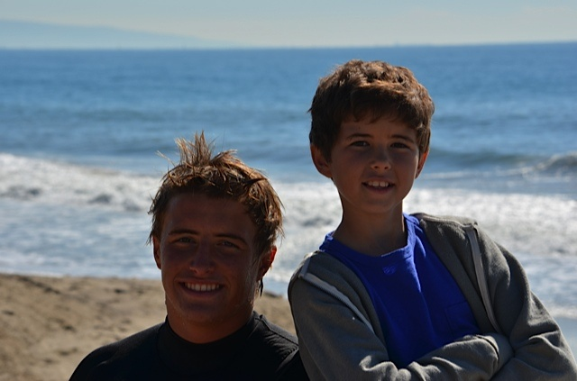 Jake Tellkamp and Jonathan Morgan Heit, chilling between takes on the beach in Pacific Palisades, CA.