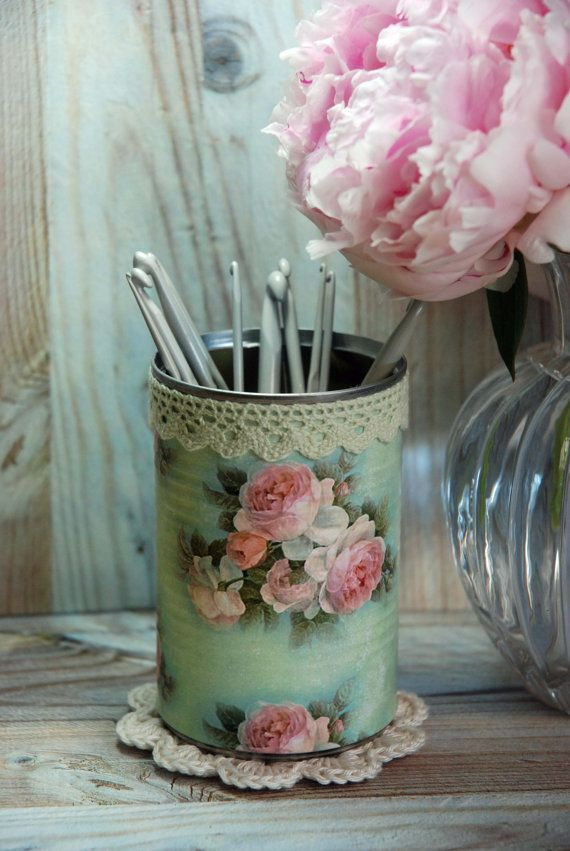 Vintage Cottage Roses Shabby Chic Style Tin Desk Organizer with your choice of Doily & Tiny Tin