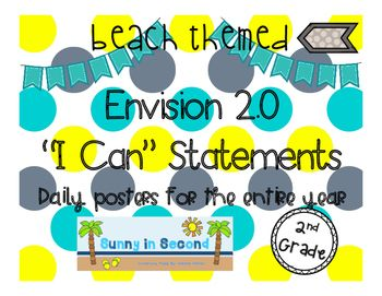 Included in this purchase is 1 poster for every Envision 2.0 math lesson including a review day and testing day.  Also included is a poster with the topic focus.  These posters work well on a math focus board or on an objective wall.  Every poster is labeled in the bottom corner so you will know which lesson it corresponds with.These posters look great in a beach or ocean themed classroom!