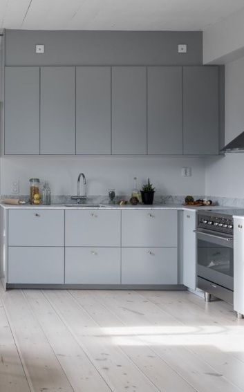 Grey kitchens light grey kitchens and floors on pinterest for Light grey modern kitchen