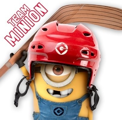 Minion hockey player via www.Facebook.com/DespicableMe
