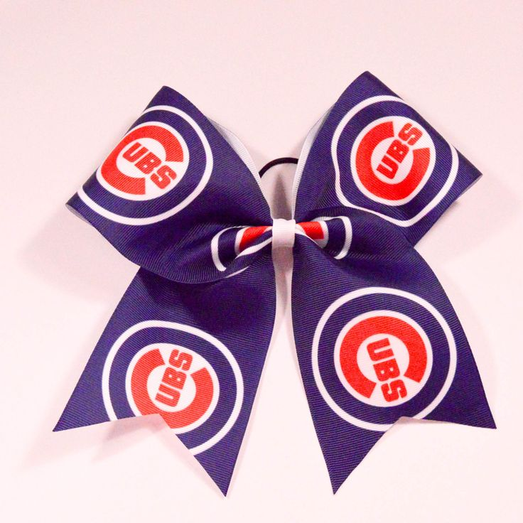 "Chicago Cubs Cheer Bow - Chicago Cubs Thermal Print on Grosgrain Ribbon - 7"" across by 8"" down - Purchase 1 or more - Ask for pricing for team orders"