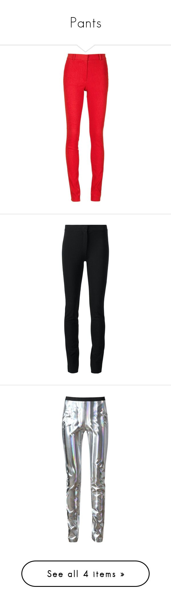 """Pants"" by sanya-styleup ❤ liked on Polyvore featuring pants, capris, red, red pants, mid rise pants, red skinny pants, skinny trousers, lanvin pants, black and derek lam trousers"