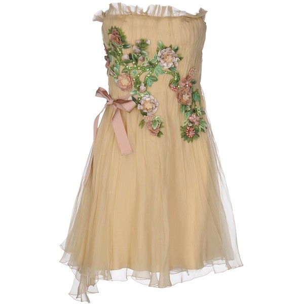 Alberta Ferretti Short Dress ($1,295) ❤ liked on Polyvore featuring dresses, beige, mini dress, brown sleeveless dress, alberta ferretti dress, short brown dress and brown dress
