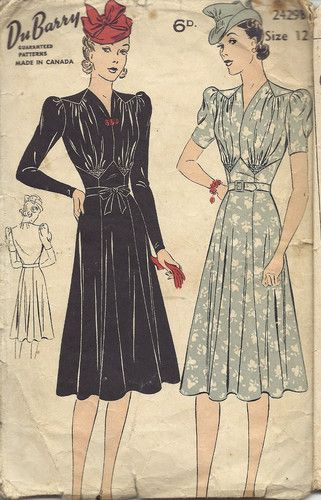 "1940s Vintage Sewing Pattern DRESS (BUST 30"") (196)"