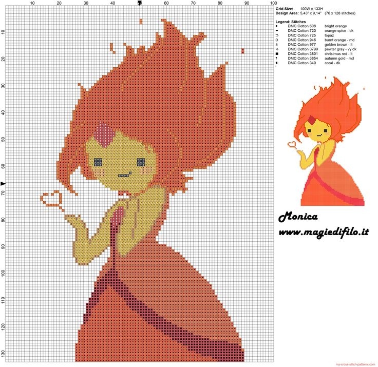 Flame Princess (Adventure Time) cross stitch pattern