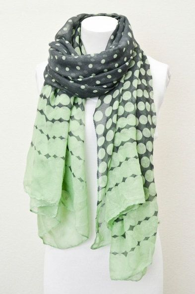 Mint Green Polka Dot  Scarf  Chunky lightweight by LePetitMonkey, $24.99