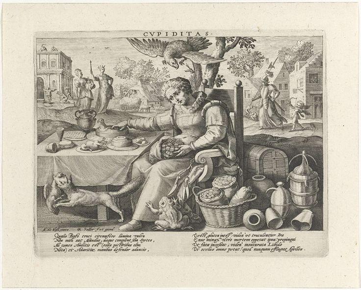 Raphaël Sadeler (I)   Begeerte, Raphaël Sadeler (I), 1592   Op de voorgrond zit een oudere dame aan een gedekte tafel. Ze heeft een zak met geld op haar schoot en grijpt naar een vogelpastei op de tafel. Zij is de personificatie van de Begeerte (Cupiditas). Rondom haar drie dieren: pad, arend en een vos met een kip in zijn bek. Naast de tafel liggen kisten, kruiken en zakken met geld. Links op de achtergrond een bouwwerf. Voor het gebouw een vrouw met een anker en een rijkgevulde beurs…