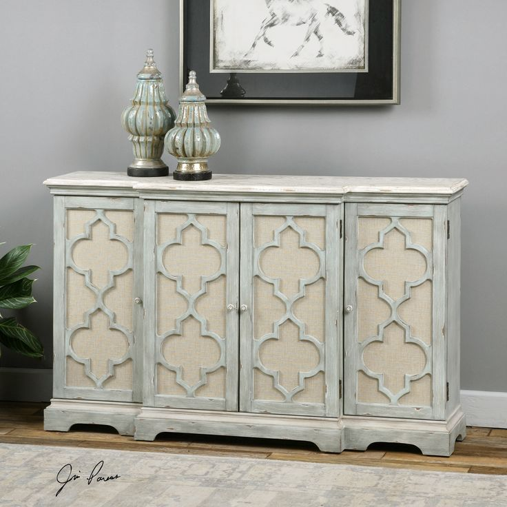 Four Door Console Cabinet in Weathered Grey