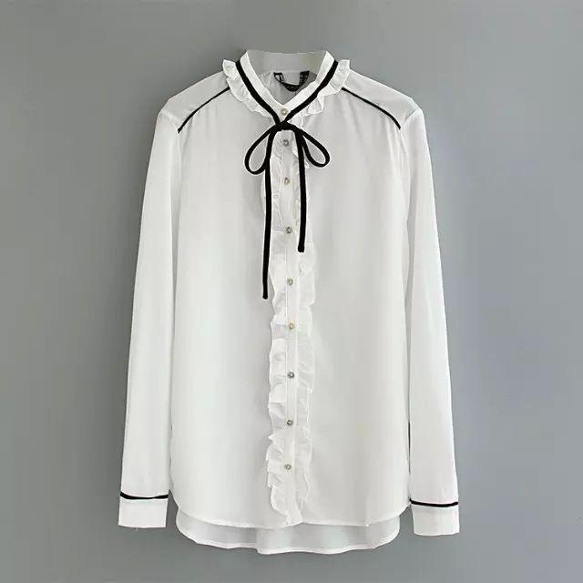 シャツ/ブラウス - 色切り替えデザインのフリル襟付きリボン飾りのレディース長袖ブラウス