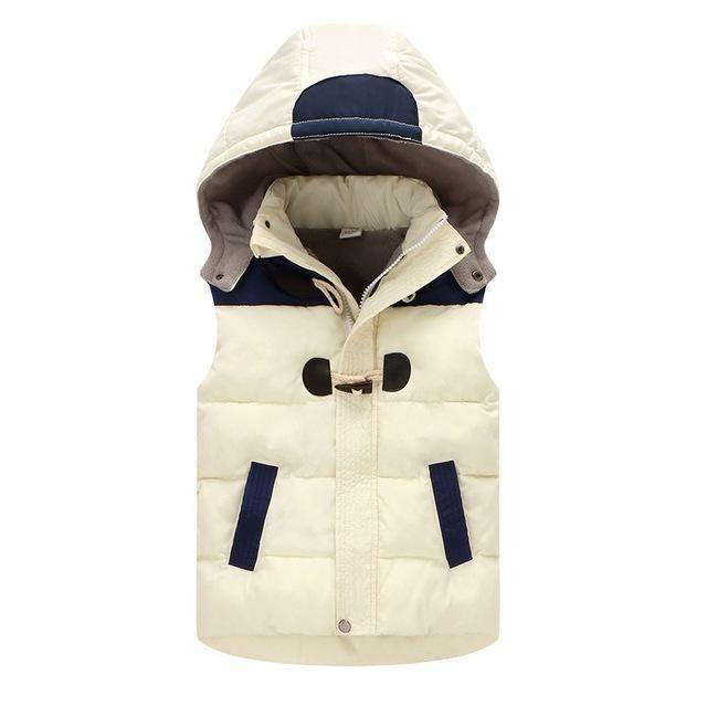 Winter Patchwork Hooded Vest Jacket