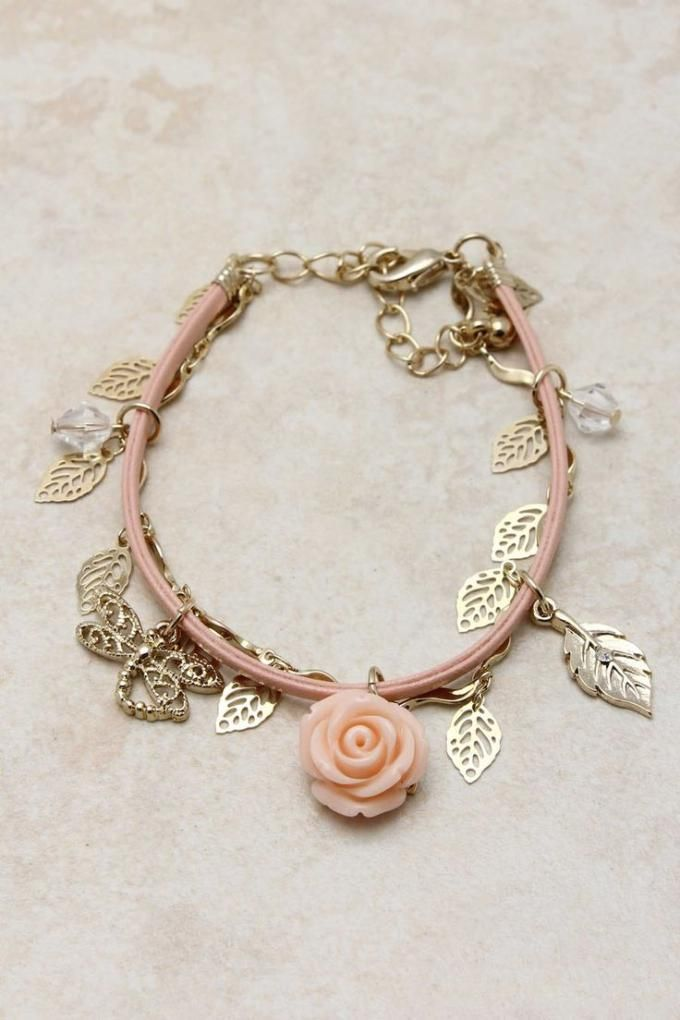 Rose charm bracelet. Craft ideas from LC.Pandahall.com