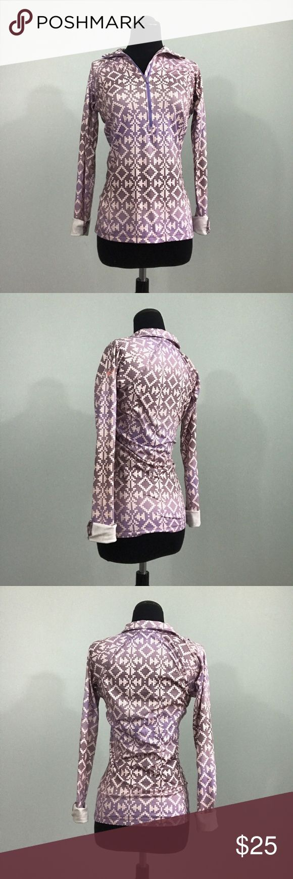 """Nike Pro Purple Aztec Long Sleeve Pullover HalfZip Nike Pro Womens XS Purple Aztec Long Sleeve Pullover Half Zip Top w/ Thumbhole  *Excellent Used Condition!  Measurements: XS: 30"""" Bust 24"""" Length Nike Tops Tees - Long Sleeve"""