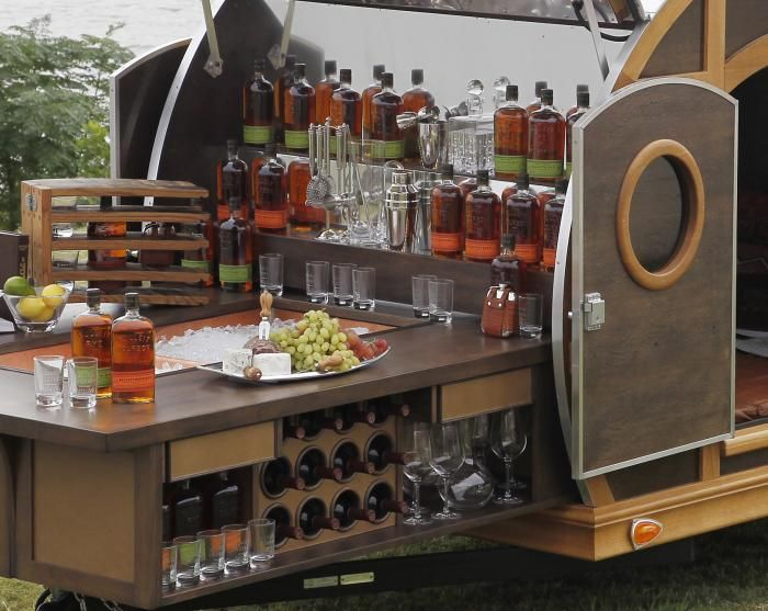 Gorgeous mobile bar to customize / stock for wedding or party!!!  The Bulleit Frontier Whiskey Woody-    Tailgate Trailer