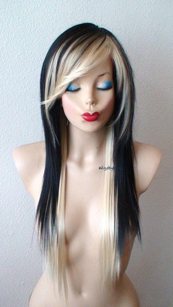 Scene wig. Black Blonde wig. Straight hairstyle long by kekeshop