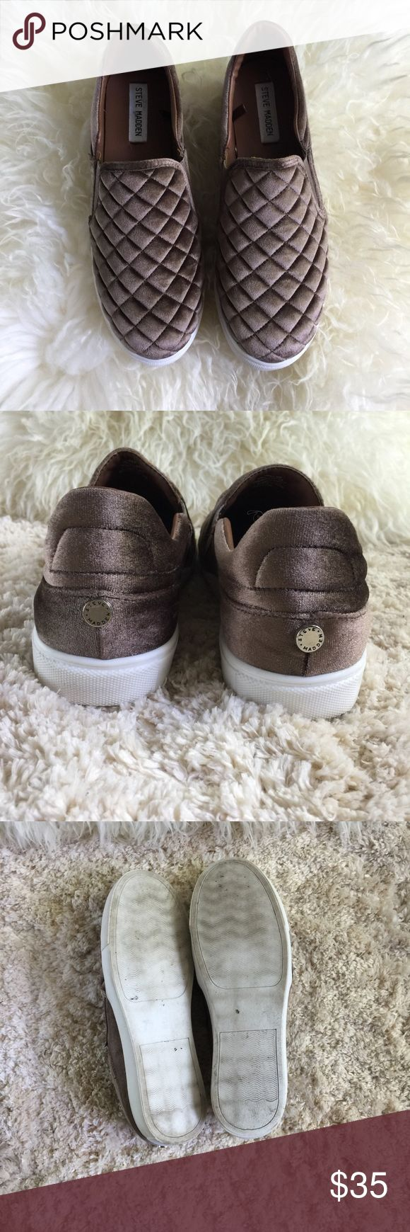 Steve Madden Quilted Velvet Elorra Slip On Steve Madden Quilted Velvet Elorra Slip On Sneakers these look nearly new! Some wear on the bottoms but in EUC. Steve Madden Shoes Athletic Shoes