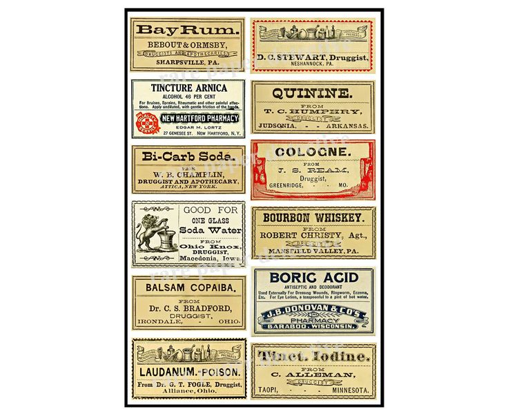 Bathroom Decor & Apothecary Labels, Pharmacy Pill Bottle Label, Drug Store Retro Antique Medicine and Druggist Stickers, 8.5″ x 5.5″, 800