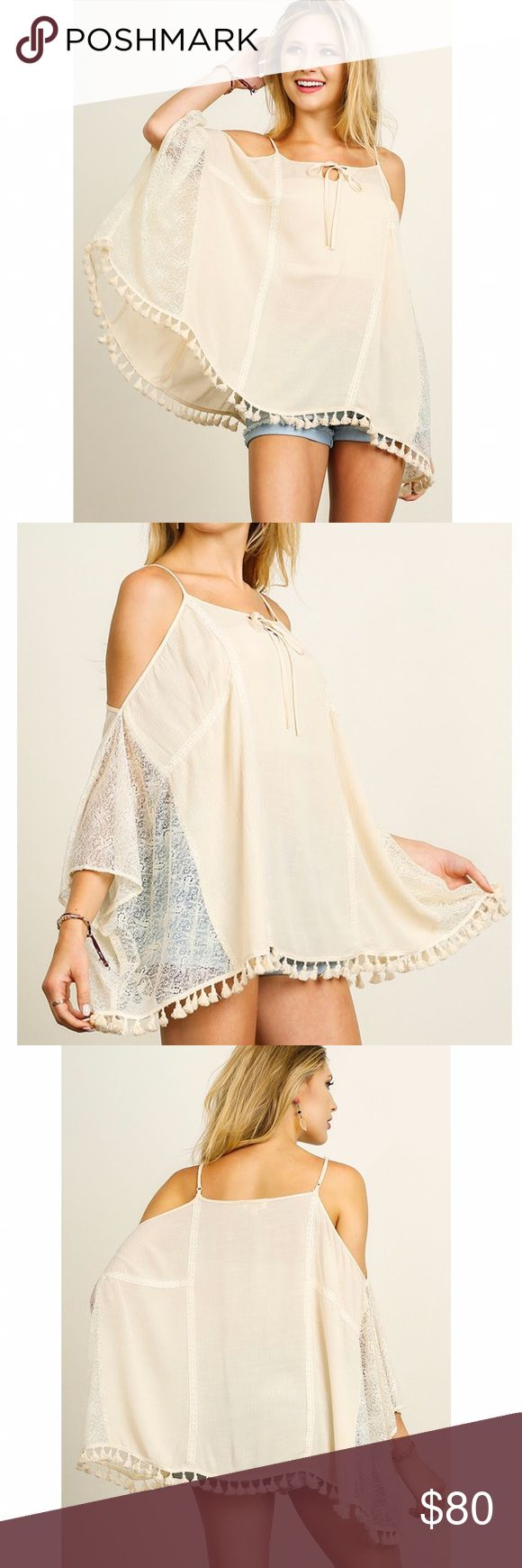 Open Shoulder Tassel Top NO TRADES | FIRM PRICE   Lace print batwing top. Loose fitting with tassel hem and open shoulders. Body is solid. Partially sheer. Model is 5'7 & wearing size small. THIS LISTING IS FOR CREAM. Available separately in black. JV Boutique  Tops