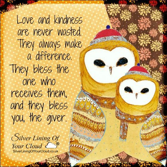 Love and kindness are never wasted. They always make a difference. They bless the one who receives them, and they bless you, the giver. –Barbara De Angelis..._More fantastic quotes on: https://www.facebook.com/SilverLiningOfYourCloud  _Follow my Quote Blog on: http://silverliningofyourcloud.wordpress.com/