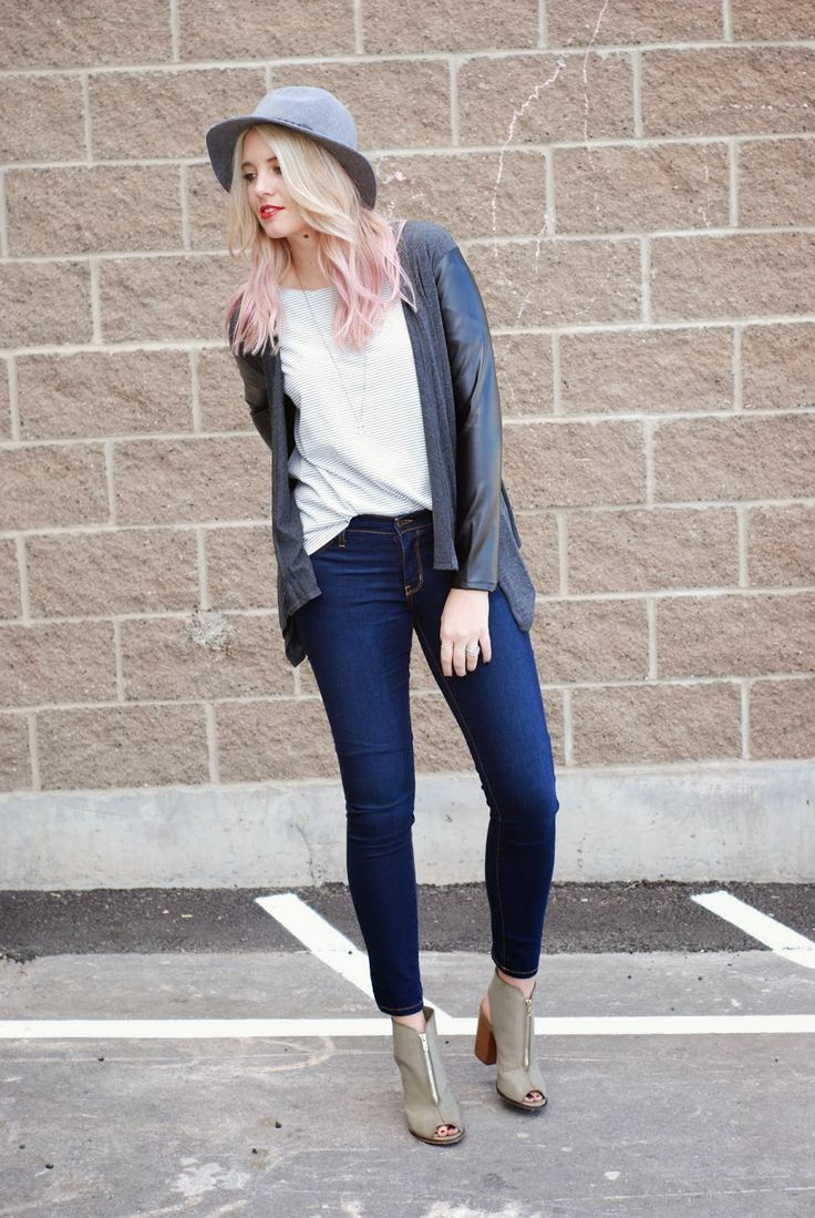 Light pink hair, and an easy fall/winter outfit. Grey fedora, striped tee, Flying Monkey jeans, zipper heels and a leather sleeved cardigan.  Outfit from www.theredclosetdiary.com