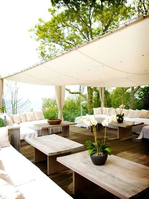 lovely deck with white canopy.