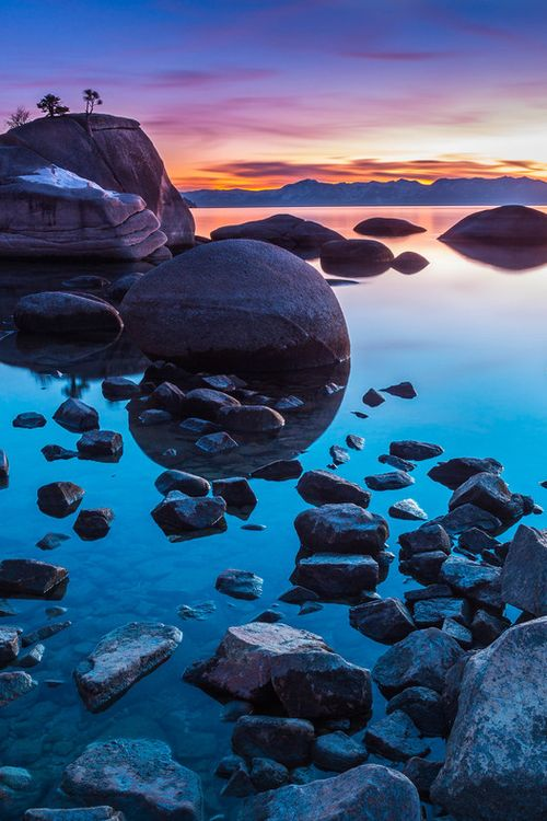 Sunset at Lake Tahoe, Sierra Nevada, California  (by Michael Lindberg)