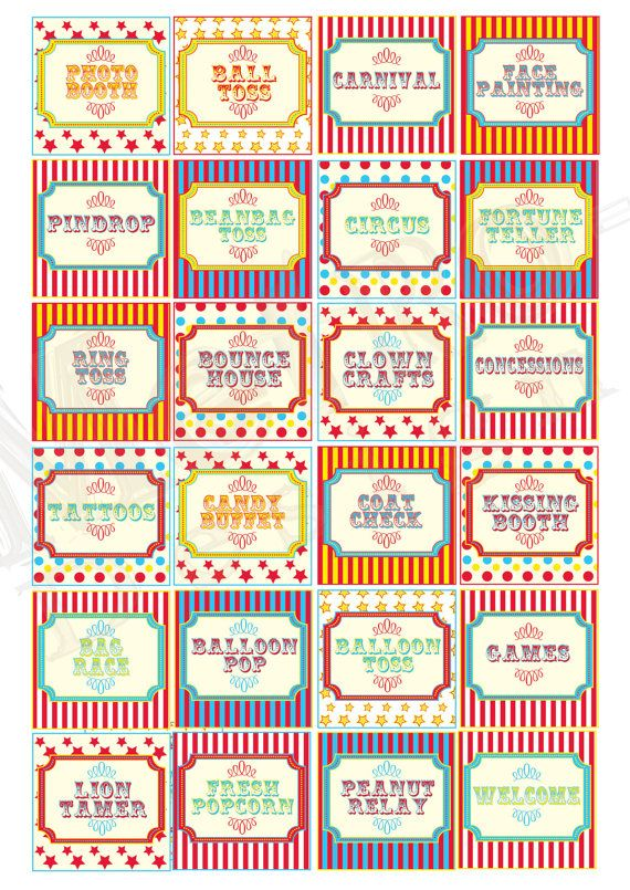 Circus Carnival 30 8x8 PRINTABLE DIY SIGNS by Metro by MetroEvents, $5.98