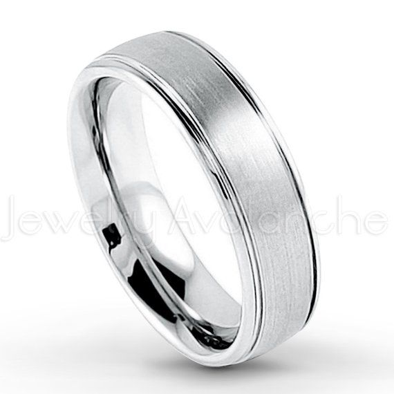 Wedding Bands Religious Bands Cobalt Satin and Polished Ridged Edge 8mm Band Size 7
