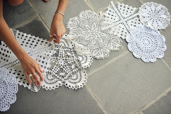 Doily Table Runner DIY - Easy to create, perfect for vintage weddings!