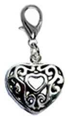 Lovely 3D Silver plated Heart charm with lobster clasp - fits pandora & troll bracelets - hand polished and hand finished to fine jewelry standard GlitZ JewelZ. $7.99