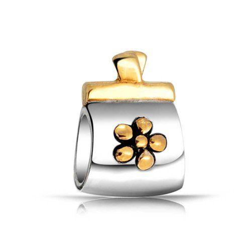 Bling Jewelry 925er Sterling-Silber Zweifarbig Handtasche Blumen Bead
