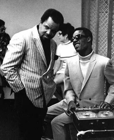 Berry Gordy and Stevie Wonder making music in Black and White - Codeblack Icons