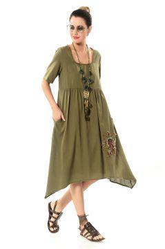 7fc14d56332f9 Etnik Aslıhan Yıldızlı Peçli Elbise - Haki #dress #clothing #clothes #dress  #