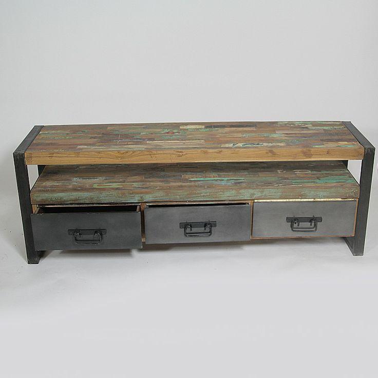 Meuble tv de type loft industriel en bois recycl et m tal for Meuble en bois recycle