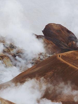 Sandra Linnell - cloud walker. Island mountain, clouds.