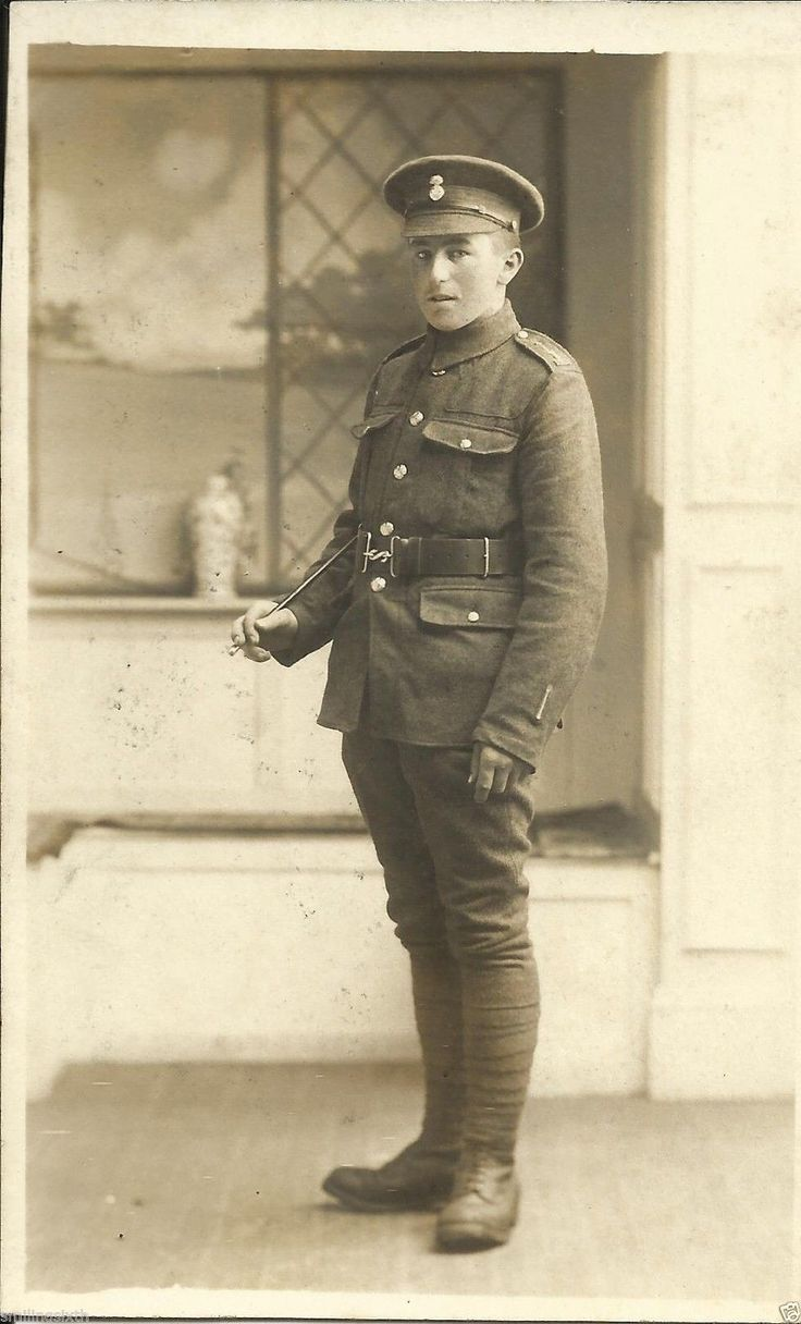 Pte soldier with a wound strip on left sleeve.