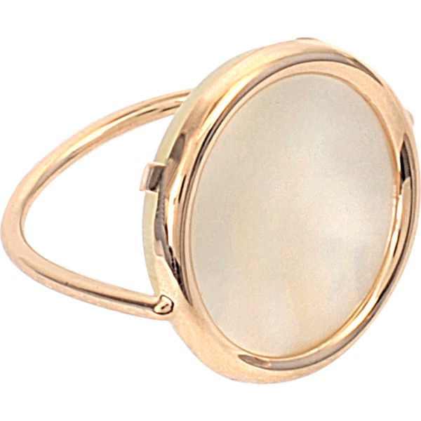 Ginette_ny Disc Ring Mother-of-Pearl ($598) ❤ liked on Polyvore featuring jewelry, rings, accessories, gold, disc ring, mother of pearl ring, ginette ny, ginette ny jewelry and mother of pearl jewelry