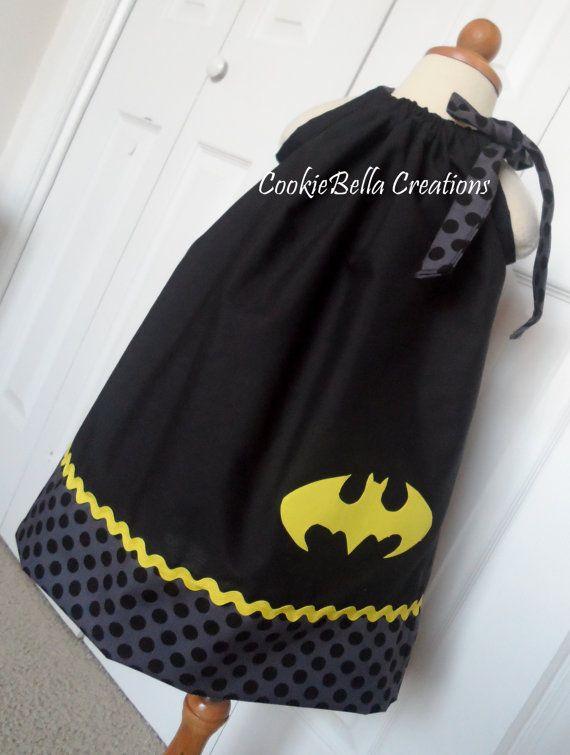 Batman/Batgirl negro y amarillo Vestido de por CookieBellaCreations