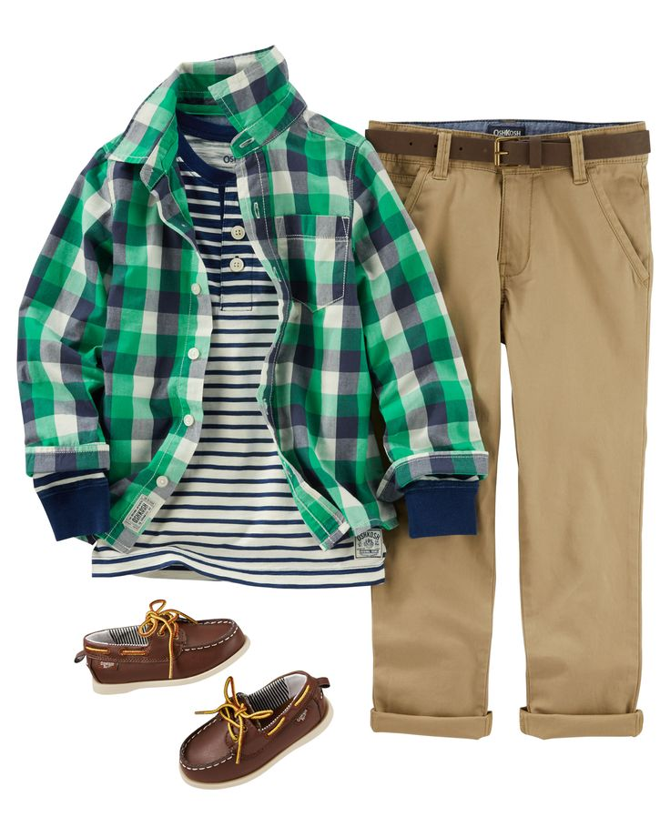 He'll have handsome school day style in a plaid button-front, striped henley and twill chinos. Add a belt and boat shoes for a classic little man look.