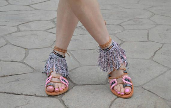 Greek Sandals YdraBoho Sandals decorated with