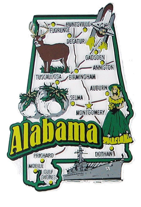 Alabama Usa Souvenir Map State Magnet