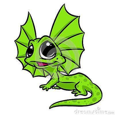 Little lizard big eyes cartoon illustration isolated image animal character